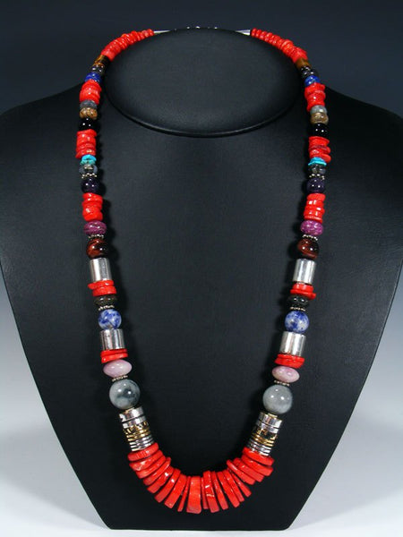 "Coral and Lapis Single Strand Bead 28"" Necklace"