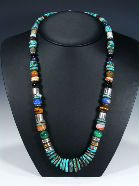 "Turquoise and Lapis Single Strand Bead 28"" Necklace"