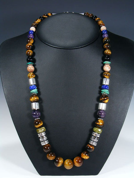 "Tiger Eye and Turquoise Single Strand Bead 28"" Necklace"
