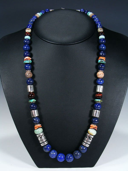 "Lapis and Spiny Oyster Single Strand Bead 28"" Necklace"