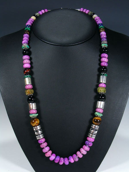 "Dyed Jasper and Turquoise Single Strand Bead 28"" Necklace"