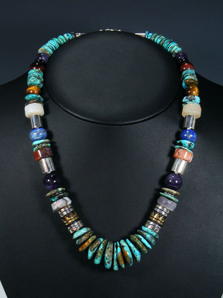 "21"" Turquoise and Amethyst Single Strand Bead Necklace"