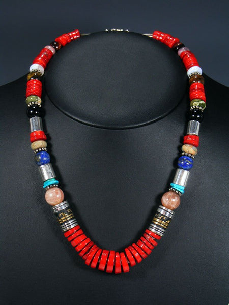 "21"" Coral and Lapis Single Strand Bead Necklace"