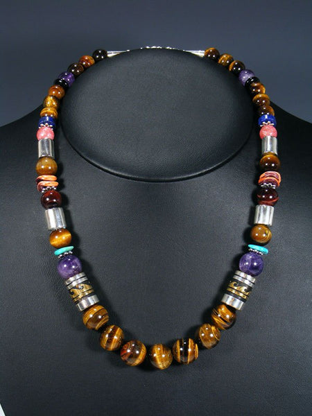 "Tiger Eye and Amethyst 21"" Single Strand Bead Necklace"
