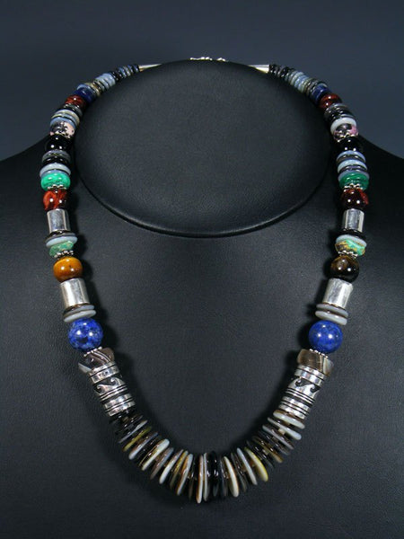 "21"" Black Lip Mother of Pearl Single Strand Bead Necklace"