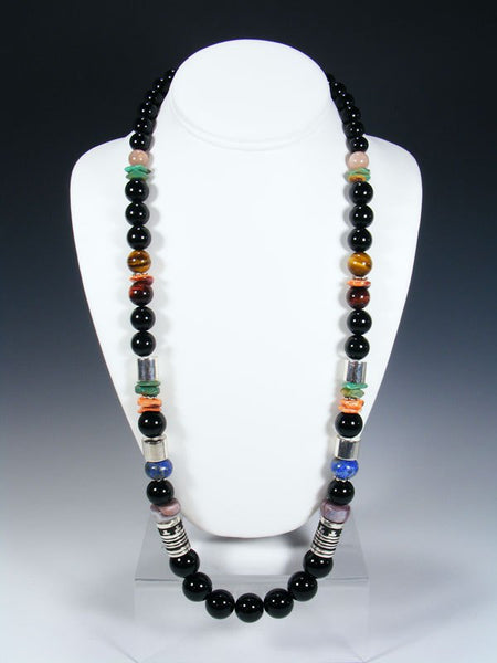 "Black Onyx and Spiny Oyster Single Strand Bead 28"" Necklace"