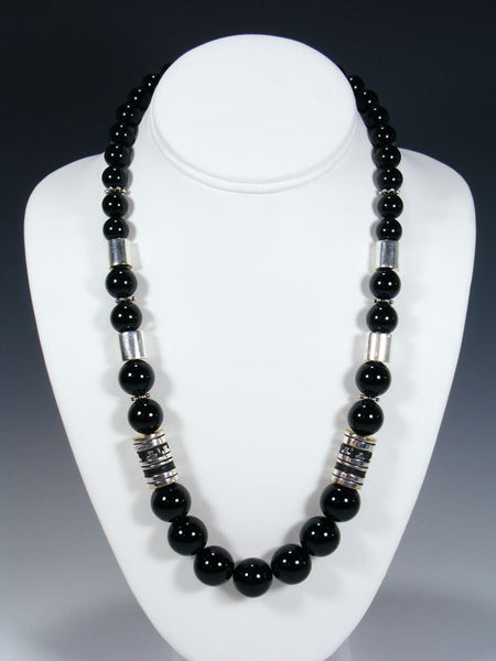 "21"" Black Onyx Single Strand Bead Necklace"