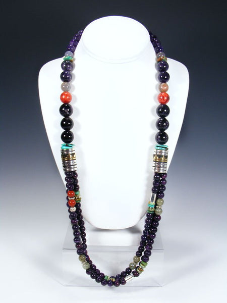 Dyed Jasper and Turquoise Multi Strand Beaded Necklace