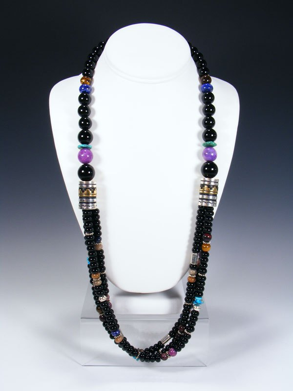Onyx and Turquoise Multi Strand Beaded Necklace