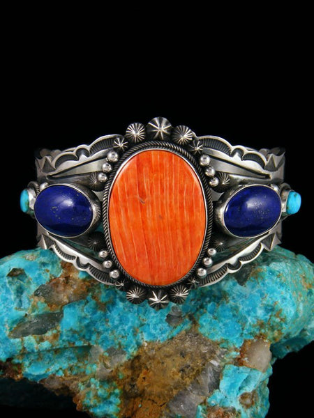 Native American Lapis and Spiny Oyster Bracelet
