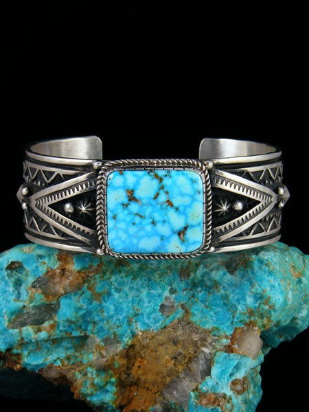 Native American Sterling Silver Jewelry Kingman Turquoise Bracelet