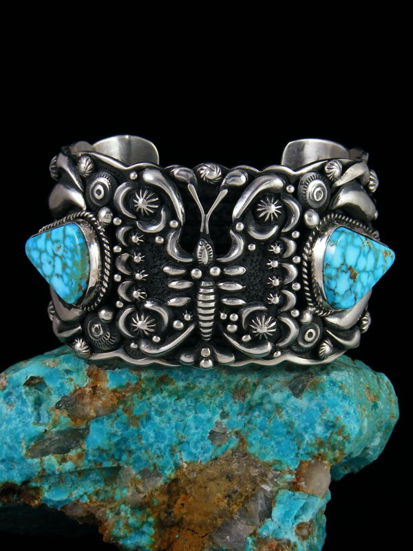 Native American Indian Sterling Silver Kingman Turquoise Butterfly Bracelet