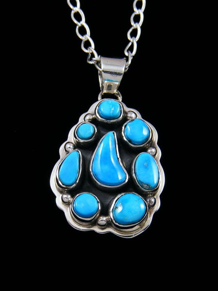 Native American Sterling Silver Jewelry Kingman Turquoise Pendant