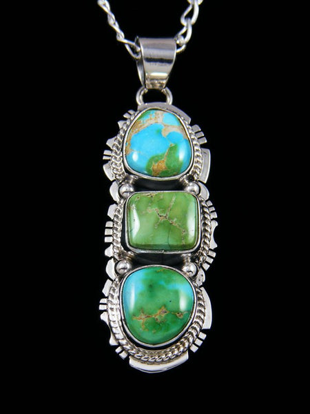 Native American Sterling Silver Jewelry Sonoran Gold Turquoise Pendant