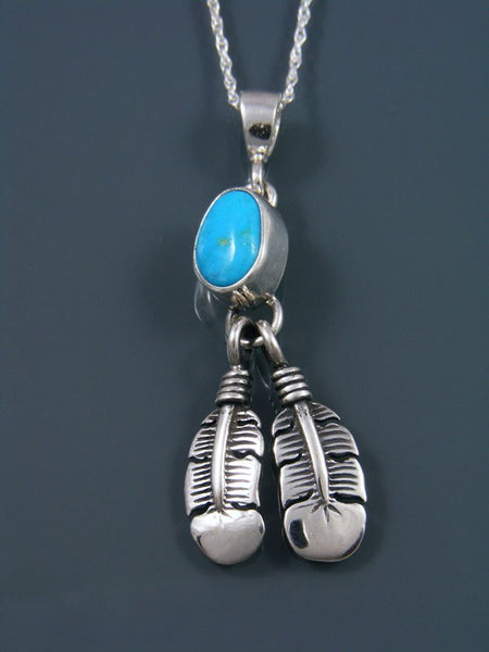 Native American Sterling Silver Jewelry Blue Bird Turquoise Feather Pendant