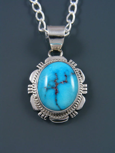 Native American Sterling Silver Jewelry Sonoran Rose Turquoise Pendant