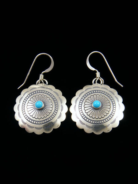 Turquoise Sterling Silver Dangle Concho Earrings