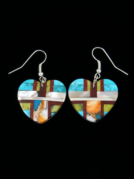 Santo Domingo Inlay Mosaic Heart Dangle Earrings