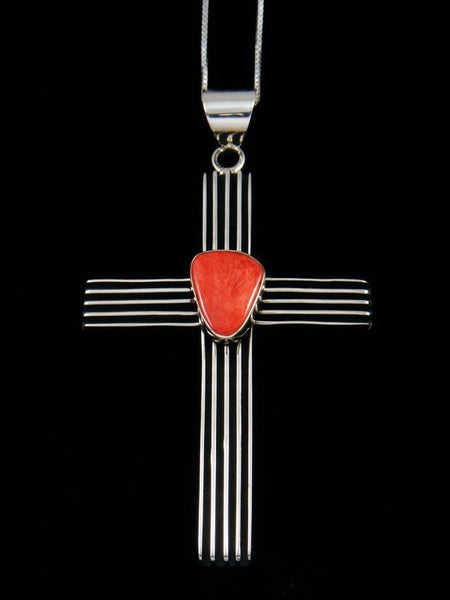 Navajo Sculpted Sterling Silver Spiny Oyster Cross Pendant