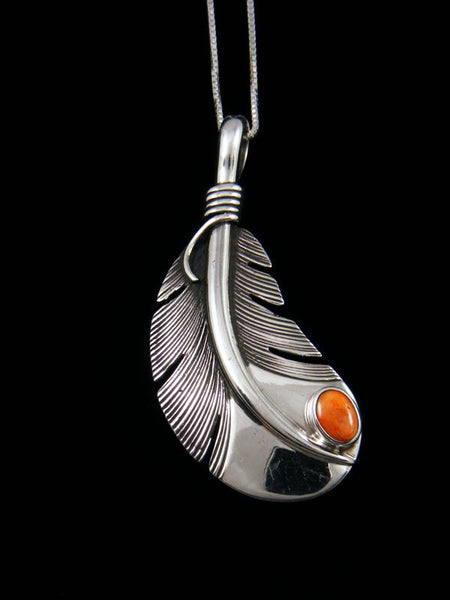 Native American Sterling Silver Spiny Oyster Feather Pendant