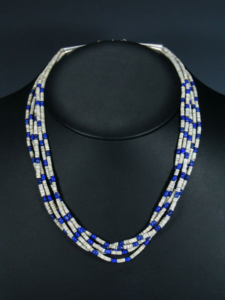 Five Strand Native American Santo Domingo Lapis and Heishi Necklace