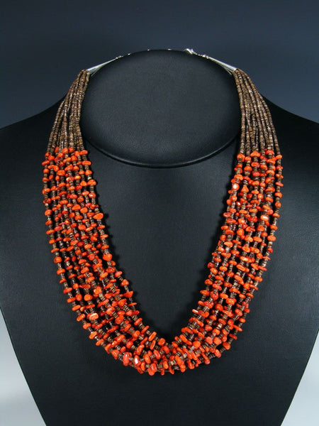 Native American Santo Domingo Multi Strand Coral Necklace and Earrings Set