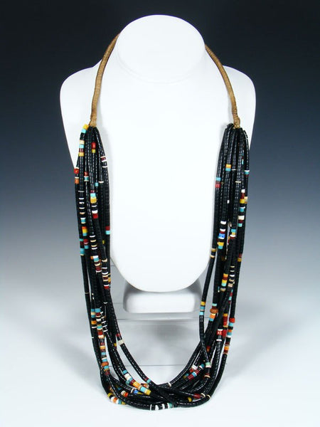 Santo Domingo Ten Strand Black Jet Heishi Necklace