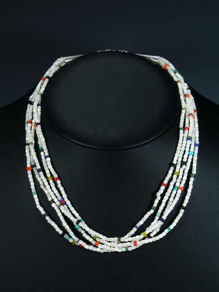 Five Strand Native American Santo Domingo Mother of Pearl Necklace