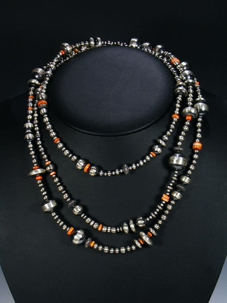 Extra Long Native American Spiny Oyster and Silver Bead Necklace