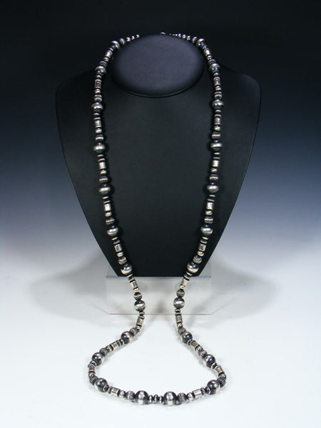 Native American Extra Long Sterling Silver Bead Necklace