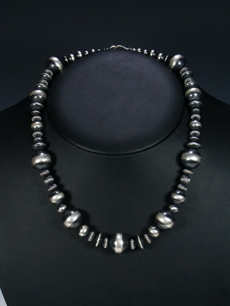 Native American Large Silver Bead Choker Necklace