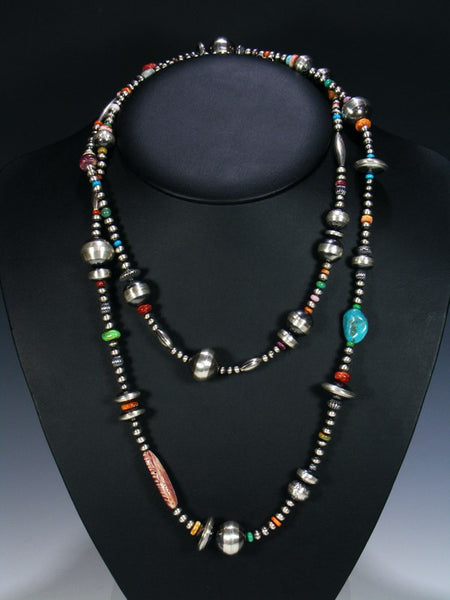 Extra Long Native American Spiny Oyster Turquoise and Silver Bead Necklace