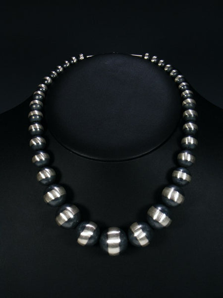 Native American Large Sterling Silver Bead Necklace