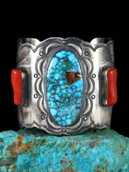 Native American Jewelry Coral and Turquoise Cuff Bracelet