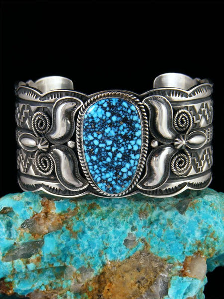 Native American Indian Jewelry Kingman Blackweb Turquoise Cuff Bracelet