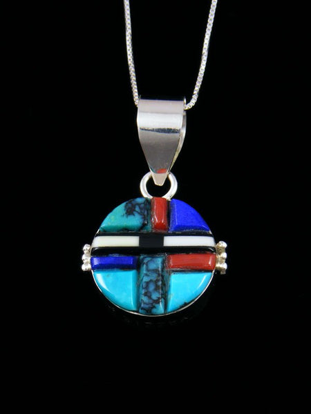 Navajo Sterling Silver Reversible Inlay Yei Pendant
