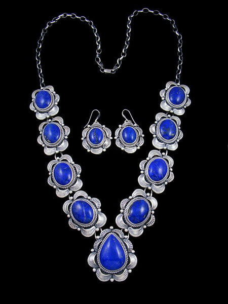 Navajo Sterling Silver Lapis Necklace and Earring Set