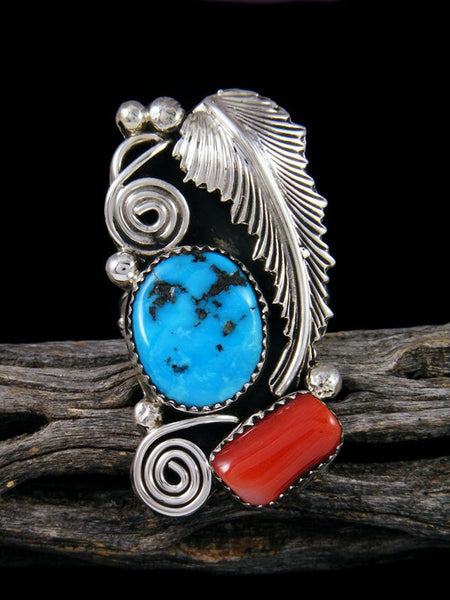 Coral and Turquoise Ring, Size 10 1/2