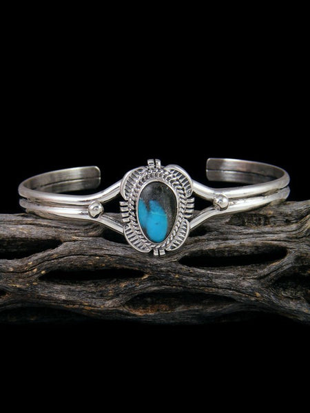Native American Sterling Silver Apache Blue Turquoise Bracelet