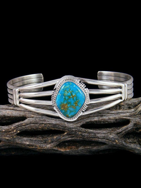 Navajo Fox Turquoise Sterling Silver Cuff Bracelet