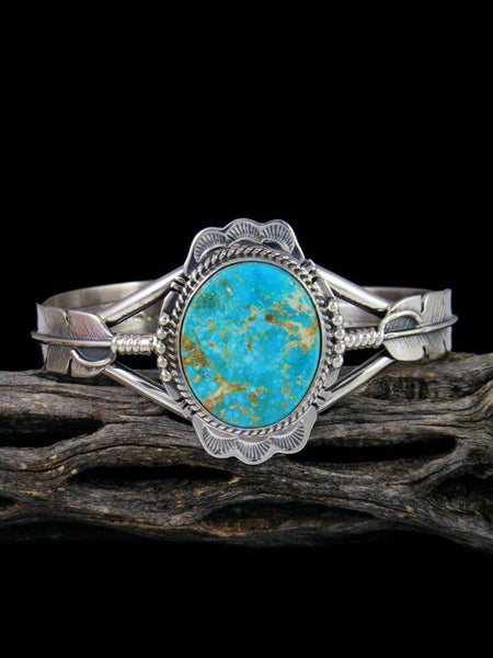 Native American Kingman Turquoise Feather Cuff Bracelet