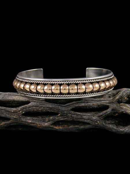 Native American Sterling Silver and Gold Cuff Bracelet