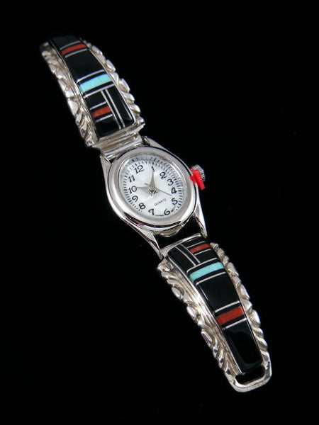 Navajo Sterling Silver Onyx and Turquoise Ladies' Inlay Watch