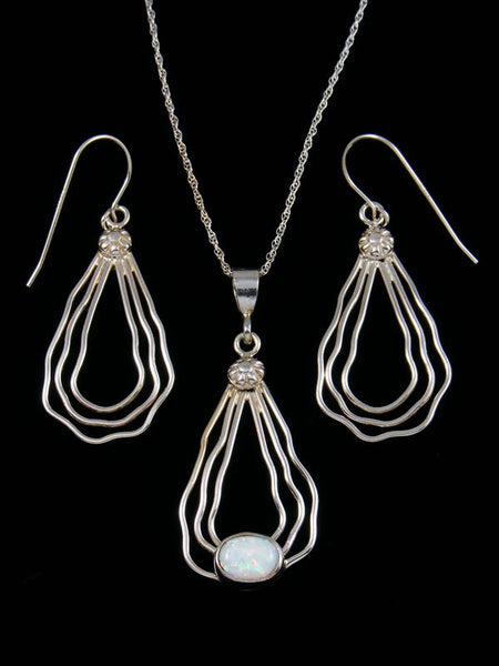 Native American Indian Jewelry Opalite Pendant and Earrings Set