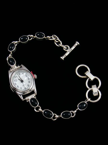 Native American Indian Sterling Silver Onyx Ladies' Link Watch