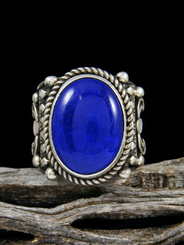 Bright Blue Lapis Ring, Size 9.5