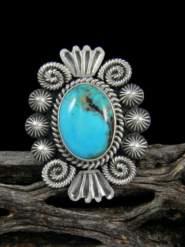 Native American Turquoise Ring, Size 8