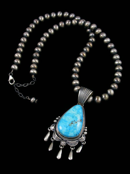 Native American Sterling Silver Kingman Turquoise Necklace