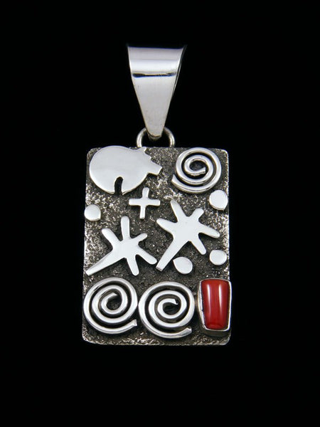 Navajo Sterling Silver and Coral Petroglyph Pendant