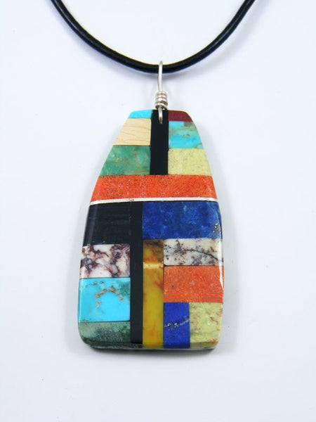 Turquoise Mosaic Choker Cord Pendant Necklace